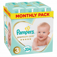 Pampers Πάνες Premium Care Monthly Box (204τεμ) Νο3 (6-10kg)