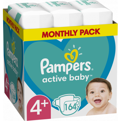 Pampers Active Baby Monthly Pack (164τεμ) Νο 4+ (10-15kg)