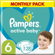 Pampers Active Baby Monthly Pack (128τεμ) Νο 6 (13-18kg)