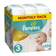 Pampers Πάνες Premium Care Monthly Box (204τεμ) Νο3 (5-9kg)