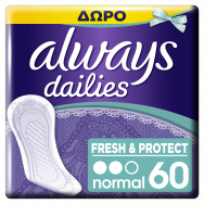 Always Dailies Fresh & Protect Normal Σερβιετάκια 40+20 Δώρο τεμ
