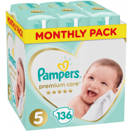Pampers Πάνες Premium Care Monthly Box (136τεμ) Νο5 (11-16kg)