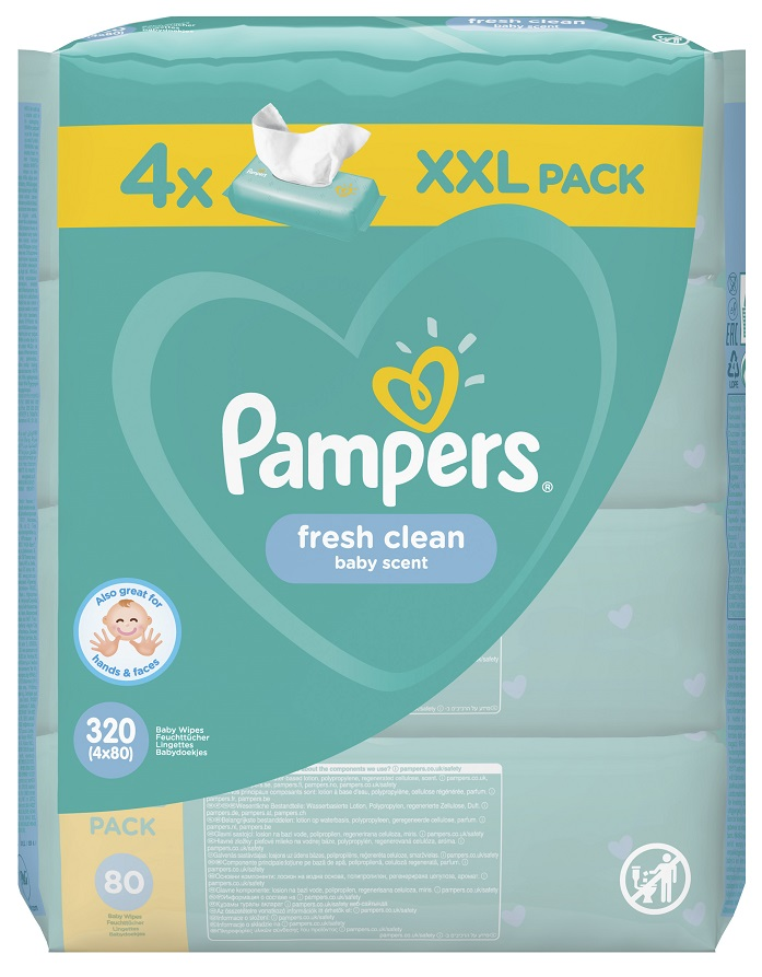 Pampers Fresh Clean XXL Pack Μωρομάντηλα 320τεμάχια (4x80τεμ)