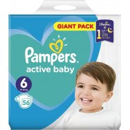 Pampers Πάνες Active Baby Giant Pack (56τεμ) Νο6 (13-18kg)
