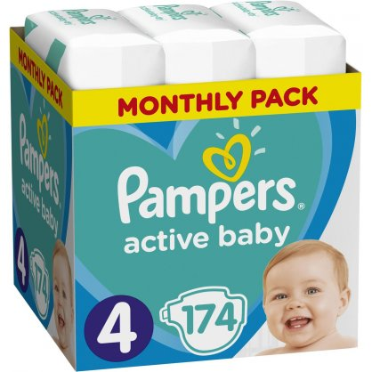 Pampers Πάνες Active Baby Monthly Pack (174τεμ) Νο4 (9-14kg)