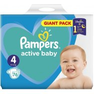 Pampers Πάνες Active Baby Giant Pack (76τεμ) Νο4 (9-14kg)