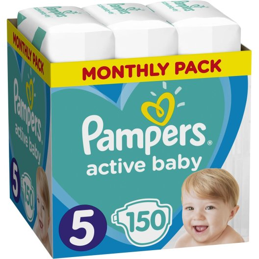 Pampers Πάνες Active Baby Monthly Pack (150τεμ) Νο5 (11-16kg)