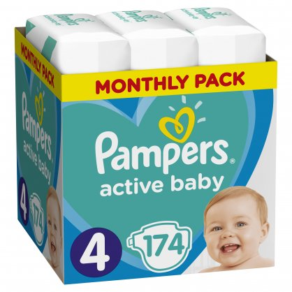 Pampers Πάνες Active Baby Monthly Box (174τεμ) Νο4 (9-14kg)