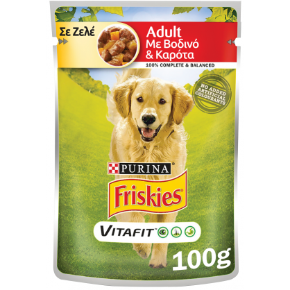 Friskies Adult Βοδινό & Καρότα Ζελέ 100gr