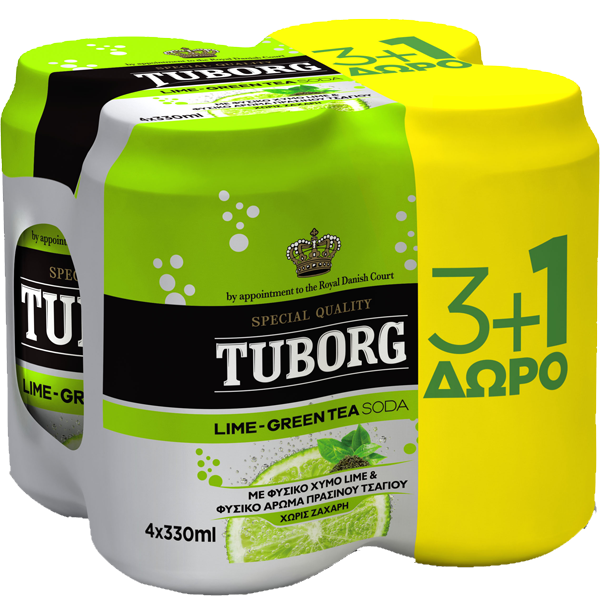 Tuborg Lime Green Tea Κουτί 4x330ml