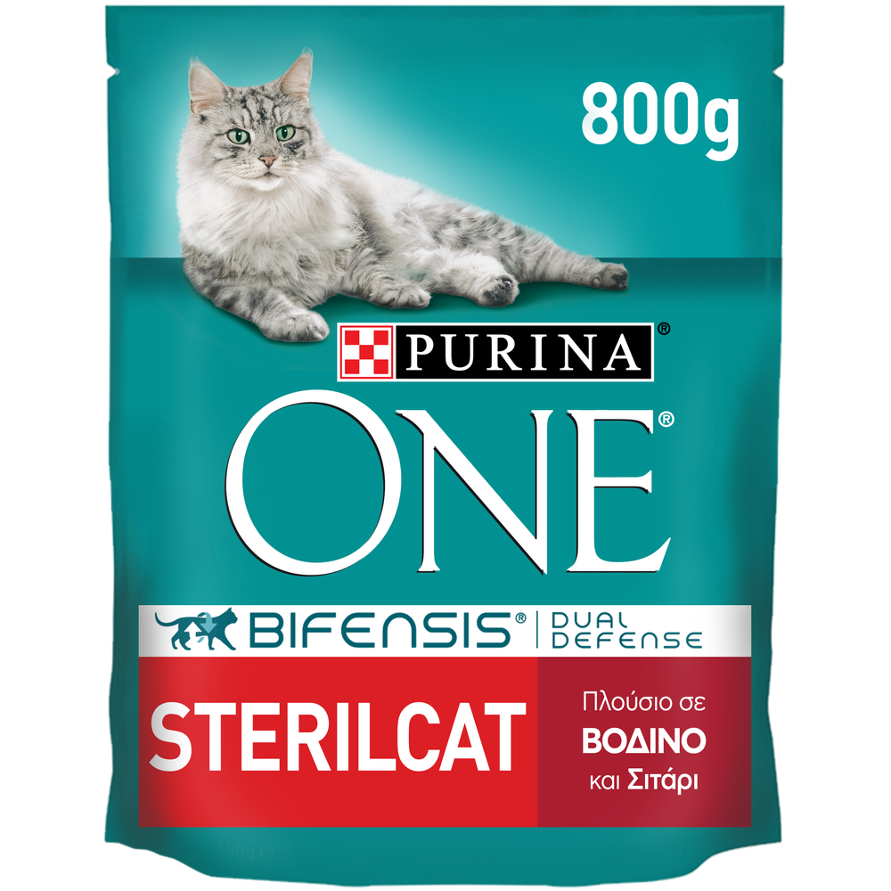 Purina One Sterilcat Πλούσιο σε Βοδινό & Σιτάρι 800gr