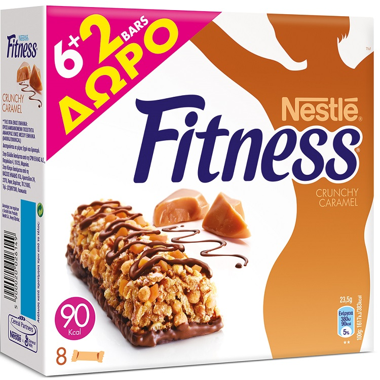 Nestle Fitness Bars Crunch Caramel 23,5gr 6+2 Δώρο