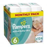 Pampers Πάνες Active Baby Dry Monthly Pack (124τεμ) Νο6 (15+kg)