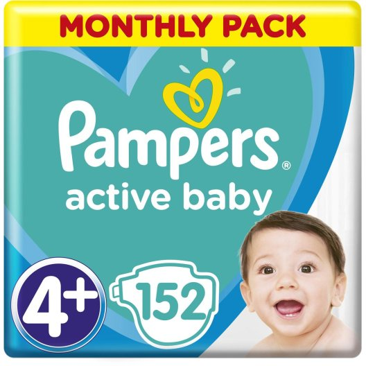 Pampers Πάνες Active Baby Monthly Pack (152τεμ) Νο4+(10-15kg)