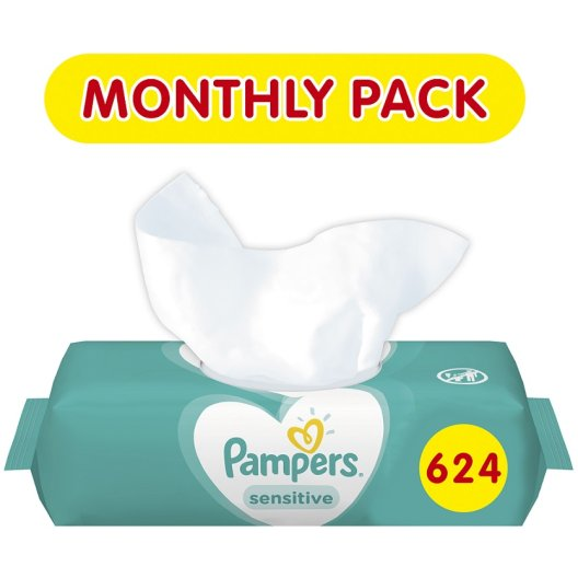 Pampers Sensitive Μωρομάντηλα 624τεμάχια (12x52τεμ)
