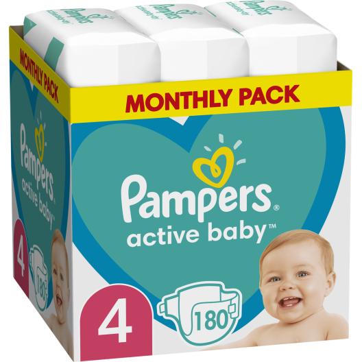Pampers Active Baby Monthly Pack (180τεμ) Νο 4 (9-14kg)