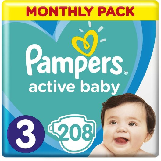 Pampers Πάνες Active Baby Monthly Pack (208τεμ) No3 (6-10kg)