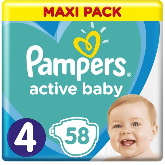 Pampers Πάνες Active Baby Maxi Pack (58τεμ) Νο4 (9-14kg)