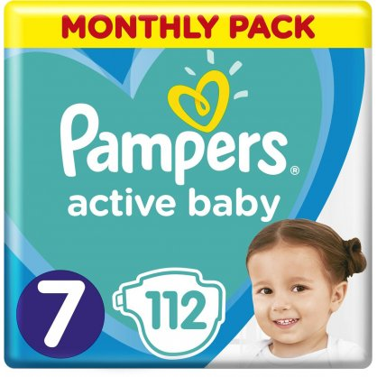 Pampers Πάνες Active Baby Monthly Pack (112τεμ) Νο7 (15+kg)