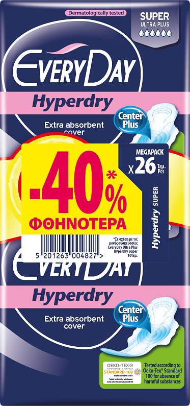 EveryDay Σερβιέτες Hyperdry Center Plus Ultra Plus Super 26τεμ -40%